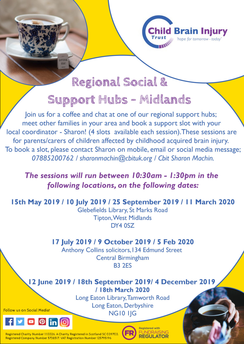 Sharon support hubs - dates and location 2019