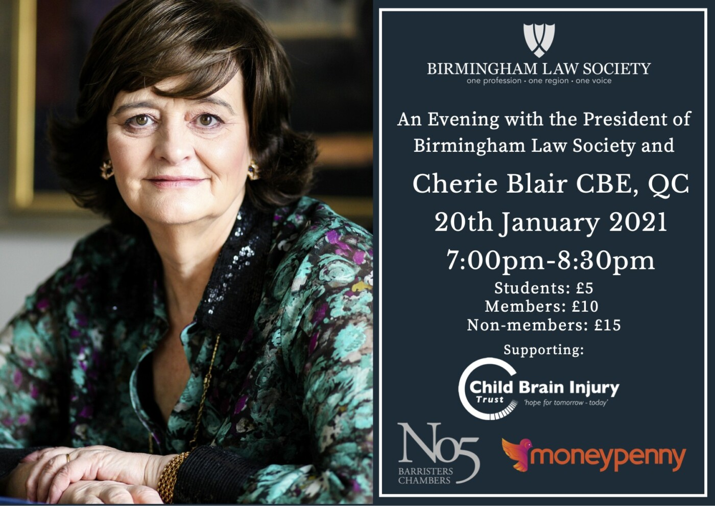 AN EVENING WITH THE PRESIDENT OF BIRMINGHAM LAW SOCIETY AND CHERIE BLAIR CBE, QC